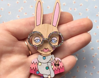 Wooden Hand Painted Iris Bunny Brooch with Galaxy Glitter Glasses