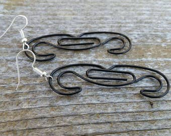 Black Mustache Earrings - Repuprosed Paperclip Earrings