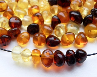 100pcs - Natural Baltic amber beads, polished rounded beads, cherry, cognac, honey, yellow amber,  5-7 mm at widest part (#103)