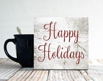 Happy Holidays Sign, Small Christmas Sign, Holiday Wall Decor, Primitive Christmas Sign