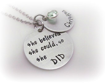 She Believed She Could So She Did Necklace Inspirational Quote Jewelry Personalized Custom Hand Stamped Jewelry She Believed Necklace