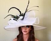 White Black Peacock Wide Brim Rhinestone Brooch Races Kentucky Derby custom hat