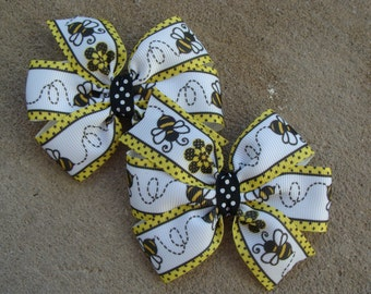 Bumble Bee Hair Bow set 3 inch hair bow large pinwheel hair bows TWO hair bows Black and yellow bee hair bow set