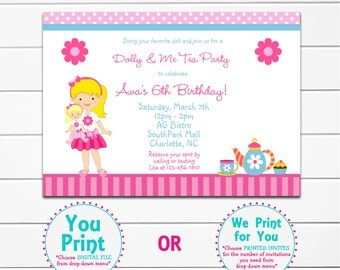 Dolly and Me Tea Party Birthday Invitation  --  dolly and me - dress up - Tea Party Invitation
