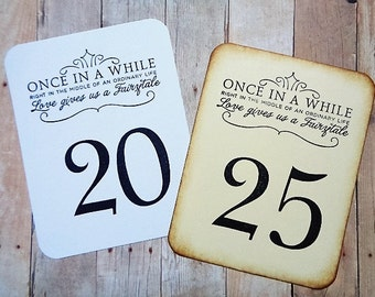 Fairytale Wedding Table Numbers Vintage Style or Black and White