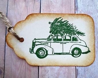 Christmas Gift Tags Vintage Car and Tree Rustic Country Christmas Tag
