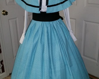 Civil War Skirt,Victorian,Renaissance,Dicken's costume  Long Teal Striped Pattern Skirt with Black Sash