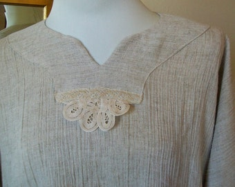 Boho Chic Tunic - Vintage Rayon & Lace - One Size - Plus Size - Natural Beige - OOAK- Casual Comfort