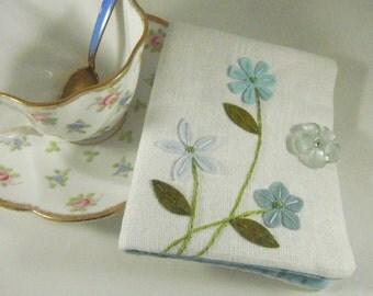 Tea Bag Wallet Cool Aqua Flowers on White 100% Linen