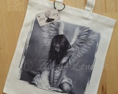 Heartbroken Angel Wings Heaven Bird Art Tote Bag Beautiful Fantasy Girl Zindy Nielsen