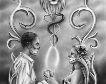 2 of cups Tarot Card Chicano Clown Love Valentine Lion Wings Fantasy Art Print Zindy Nielsen