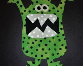 Iron On Applique Green And Black Dotted MONSTER ...New