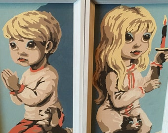 Vintage Paint By Number Little Blonde Little Boy and Girl Pair