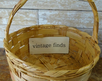 Vintage Easter Woven Basket Sweet Large Shabby Chic