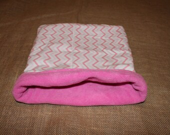 Medium Large Pink Chevron pouch for small pets. guinea pigs. rats. rodents.
