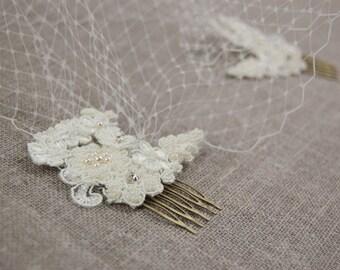 Birdcage veil - Ivory birdcage veil - Lace birdcage veil - Wedding veil - Bandeau veil
