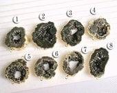 Druzy, Druzy connector Geode connector, Pendant,  24k Gold plated Edge Druzy agate, drusy Pendant in Black color, gemstone JSl-6665