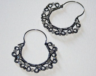 Handmade Oxidized Silver and Moonstone Wire Wrapped Hoop Earrings