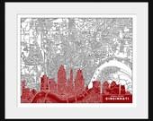 Cincinnati Map - Cincinnati Skyline - Print Poster