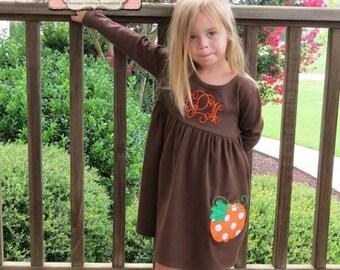 SALE, Thanksgiving Dress, Fall Knit Dress, Appliqued Dress, Embroidered Dress, Monogrammed Dress, Toddler Dress