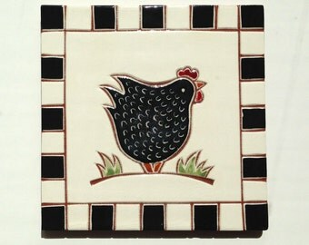 "Black chicken handmade ceramic tile, coaster or wall hanging 6"" x 6"""