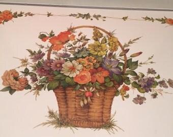 Pimpernel Placemats Flower Basket  Dinner Size  In Original Box Pimpernel Laminated Cork Board