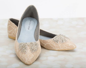 Wedding Flats - Lace Flats - Wedding Shoe - Lace Wedding Shoe - Champagne Wedding Shoe - Champagne Lace Flat Wedding Shoe Bridal Flats Comfy