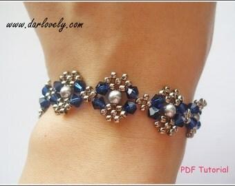 Beaded Bracelet Pattern - Blue Silver Pearl Metal Bracelet (BB025) - Beading Jewelry PDF Tutorial (Digital Download)