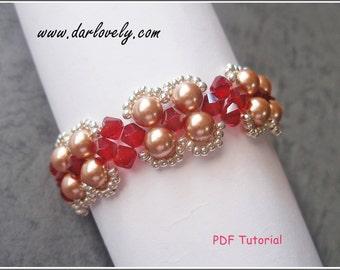 Beaded Bracelet Pattern - Red Rose Gold Pearl Bracelet (BB157) - Beading Jewelry PDF Tutorial (Digital Download)