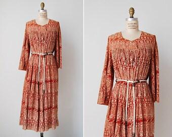 vintage 1970s dress / 70s bohemian dress / 1970s indian print / Kandahar dress
