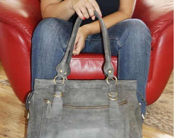 Leather tote, Leather handbag, Leather crossbody bag, Leather Tote Bag, Messenger bag, Laptop Bag, IPad bag, Travel bag, Rina XXL Antic Grey