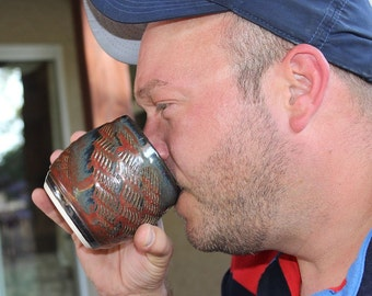 Rustic Ceramic Yunomi Tea Cup or Wine Cup Tumbler Asian Inspired Brick Red, Red, Grey and Black
