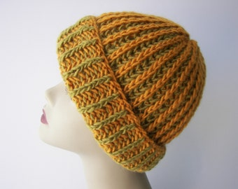 Hand Knit Two-Color Brioche Beanie Hat in Gold Sage Red / English rib in two colours hat