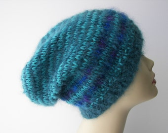 UNIQUE Hand Knit Hat in Teal Aqua Luxury Italian Mohair Wool / Textile art Hat / Ready to ship Gift/ designer knit hat