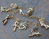 Ancient Egypt Gold Charm Bracelet- Egyptian Ankh, Nefertiti, King Tut, Cleopatra, Scarab, Eye of Horus,Sphinx,Sacred Cat - free shipping USA