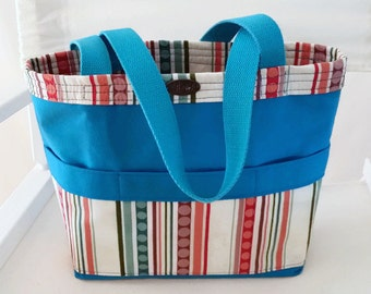 Teal tote // small // short straps // 5 pockets