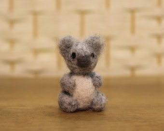Handmade miniature koala bear, needle felted koala, tiny wool animal, made to order