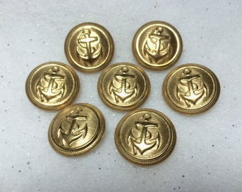 """Set of 7 Anchor Navy Gold Color Vintage Metal Buttons 7/8"""""""