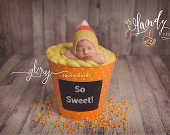 Newborn Candy Corn mohair bonnet.  Newborn photo prop