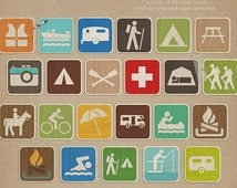 Recreational Icons - Digital Scrapbooking kit for Camping / Outdoors INSTANT DOWNLOAD