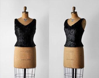 50's black sequin top. xs. 1950 tank top. deep v-neck. peplum. evening. 50 small top. sleeveless.
