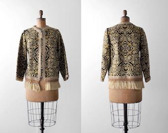 1960's jacket. boho. 60 print cardigan. black & gold. ornate. fringe. m. 60's tribal jacket. l.