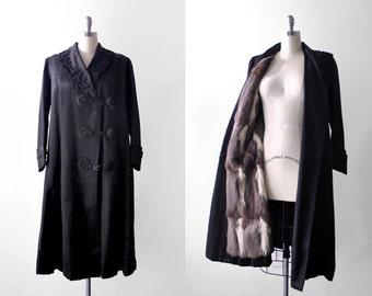 1910's black coat. Edwardian fur lined coat. squirrel. soutache embroidered. 20's satin coat. antique. L.
