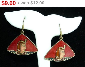 Dangling Enamel Earrings for Pierced Ears - Egyptian Queen with Snake Crown - Triangle Shaped - 1970's 1980's Fashion - Vintage Jewelry