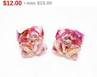 Pink Crystal Bead Earrings - Iridescent Two Tone Pink Beaded Clip on Style