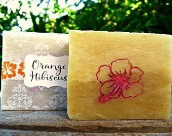 ORANGE SOAP with Hibiscus Design. Orange Essential Oil and Hibiscus Petals. 4.5 oz. Gift from Hawaii.