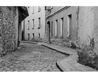 Fine Art Black & White Photography of Cobblestone Street in Tallinn Estonia
