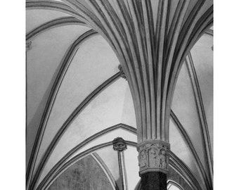 Fine Art Black & White Architecture Photography of Vaulted Ceiling and Column in Poland