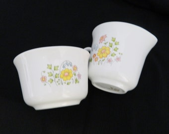 Corelle Open Sugar Bowl and Creamer Set Meadow pattern by Corning USA Retired