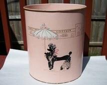 Vintage Adorable Pink Metal Ransburg Poodle Waste Basket Trash Can